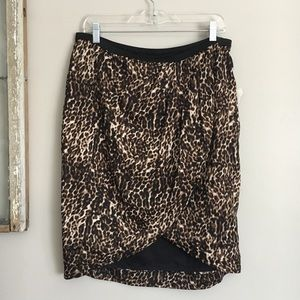 New Worthington Leopard Print Wrap Skirt